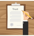 trust concept agreement with hand hold pencil vector image