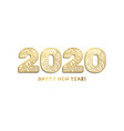2020 happy new year golden laser cut lettering vector image