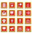 advertisement icons set red vector image vector image