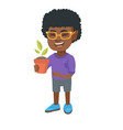 african smiling boy holding a potted plant vector image vector image