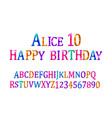 alice 10 font childrens vector image