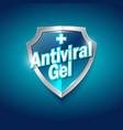antiviral antiseptic logo sanitizer gel shield vector image vector image