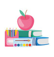 back to school apple books pencils color vector image vector image