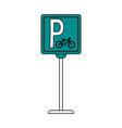 bike parking sign vector image vector image