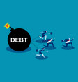 business team run away from debt concept business vector image