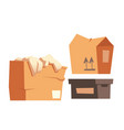 cardboard boxes set paper containers for freight vector image