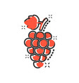 cartoon grape fruit with leaf icon in comic style vector image vector image