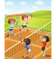 Children playing tennis at the court vector image