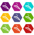 clothes hanger icons set 9 vector image