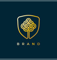 creative tree in circle logo design vector image vector image