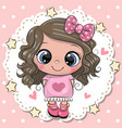 cute cartoon girl with pink bow