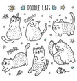 cute hand drawn doodle cats vector image