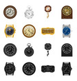 design of clock and time symbol set of vector image vector image
