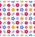 digital blue red flowers set vector image