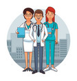 doctors team cartoons vector image