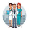 doctors team cartoons vector image