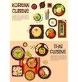 Exotic oriental dishes of korean and thai cuisine vector image vector image