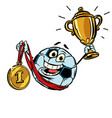 first place gold medal character soccer ball vector image vector image