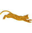 gold cat with glitter silhouette isolated vector image vector image