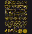 Gold heart flowers hand drawings
