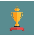 Gold Trophy Cup Winner with a Crown vector image vector image