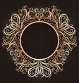 gold vintage round frame with tracery the object vector image vector image