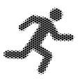 halftone dot running man icon vector image
