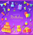happy birthday circle infographics template vector image
