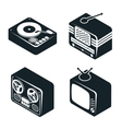 Isometric 3D Icons of Retro Media Devices vector image vector image