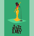 jazz day poster of retro mid century woman singer vector image