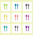 label icon on design sticker collection spoon fork vector image vector image