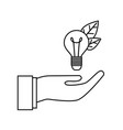 lamp with hand the ecological compatibility vector image vector image