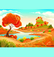 landscape with pond trees and hills vector image