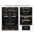 letterpress wedding invitation design template vector image