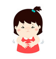 little girl having stomach ache cartoon vector image vector image