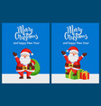 merry christmas and happy new year santa congrats vector image