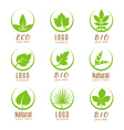 Nature logo set or ecology labels with green
