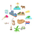netherlands icons set cartoon style vector image