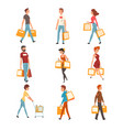 people with shopping bags set young men and women vector image vector image