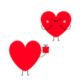 red heart couple in love happy valentines day vector image vector image