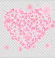 romantic falling flower petals heart shape eps 10 vector image