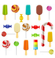set candy sweets and ice cream vector image