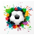 Soccer ball with colorful spray paint vector image
