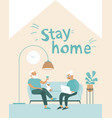 stay home concept elderly senior couple relaxing vector image vector image