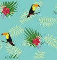 toucan with tropical leaves and flowers vector image