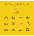Transportation thin line icon set vector image