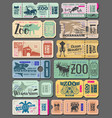 vintage tickets of zoo animals and fish vector image