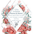 wedding invitation card with roses flowers vector image vector image