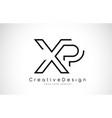xp x p letter logo design in black colors vector image vector image