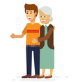 young man helping an elderly woman with a walker vector image vector image